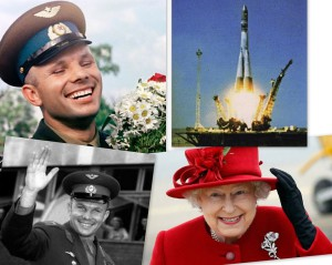 Russia. First Russian Cosmonaut Yury Gagarin and English Queen