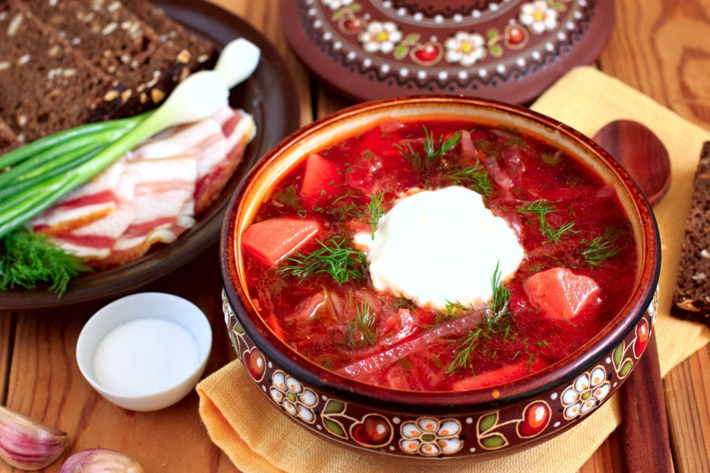 Russian national food, borsch