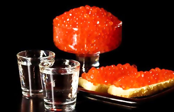 Russian vodka and Russian caviar