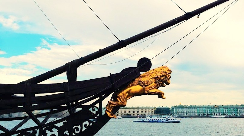 Statue of lion on one of the boat in Petersburg