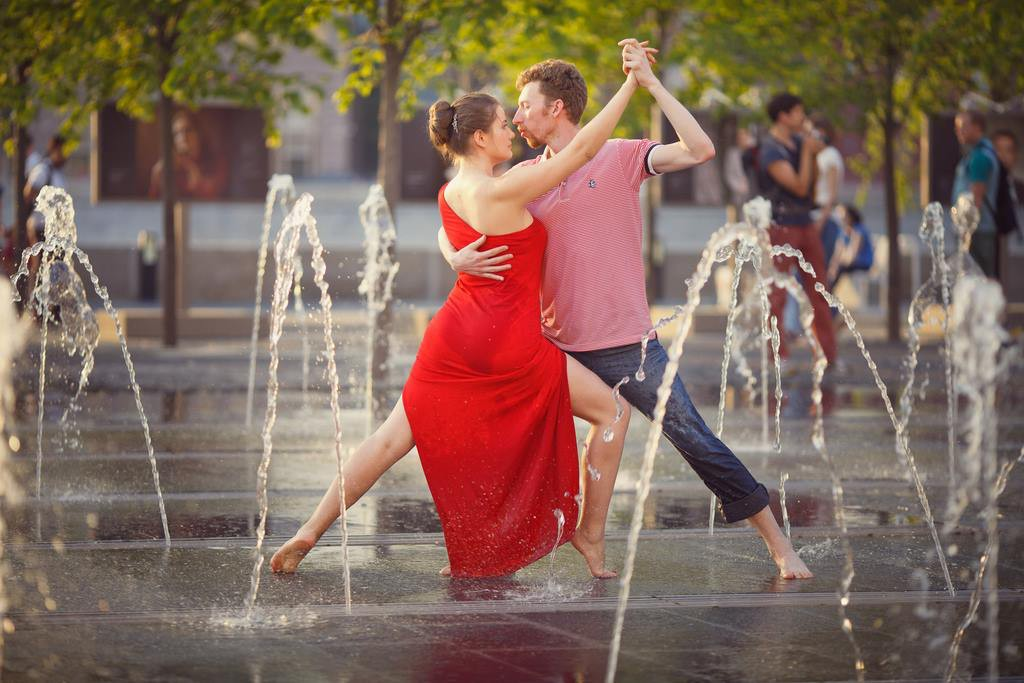 Dancing in the fountain in Moscow on our Going Out in Moscow tour